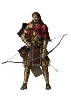 m Fighter Archer Longbow med Armor Shield