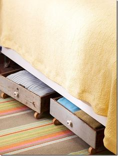 This could work for those old drawers, too! Just add wheels and slide under the bed!