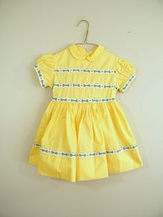 Vintage 1950s Girls Dress / Yellow / Party Dress / Moppets / Easter Dress / Spring Dress
