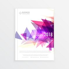 Brochure with pink triangular geometric shapes Free Vector