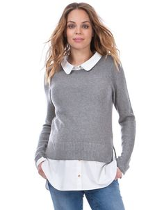 Grey Mock Shirt Maternity & Nursing Jumper | Seraphine