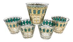 Mid-Century Culver Emerald Green Scroll Whisky Cocktail Glasses - Set of 5