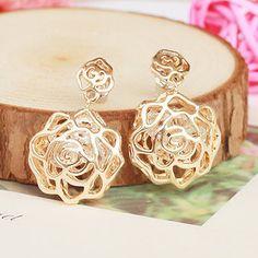 Pierced Rose built-zircon stone earrings earrings Korean jewelry wholesale ,shop at Costwe.com