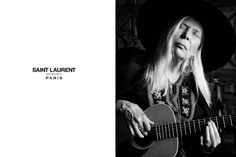 Joni Mitchell Models for New Saint Laurent Campaign I am crying. Dreams do come true. Joni and YSL. Ss15 Fashion, Fashion News, Fashion Editorials, High Fashion, Ysl, Celine Campaign, Justin Bieber Style, 2015 Music, New Saints