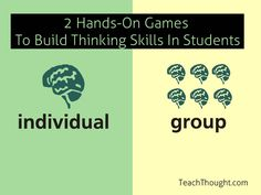 Executive Functions (EF) are the higher-level brain functions–e.g., planning, analyzing, evaluating, and designing. Two games- one individual and one group- to practice these skills.