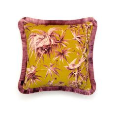 <p>Inject a dose of brilliant colour into your living space with the 'Aurora' cushion in a vivid hue of chartreuse. This plush British velvet desi...