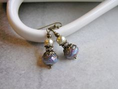Victorian Pearl Earrings with Czech Pearl Coated Lavender Beads, Champagne Glass Pearls, Czech Crystal Beads and Antique Gold Accents by SmockandStone on Etsy