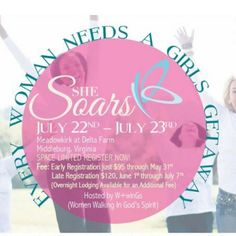 """Every woman needs a girls getaway and a spiritual refresh from time to time! Gather all your girlfriends and soar with us at the W+inGs """" She Soars"""" Retreat from Saturday afternoon through Sunday morning, at the beautiful Meadowkirk retreat center in Middleburg Va. Women from all walks of life will come together to grow their faith through fun, fellowship, and sharing Christian speakers. Learn to soar through life no matter what comes your way. Be ready to take off and get closer to God all…"""