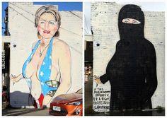 Australian street artist paints unusual Hillary Clinton mural #australian #street #artist #paints #unusual #hillary #clinton #mural