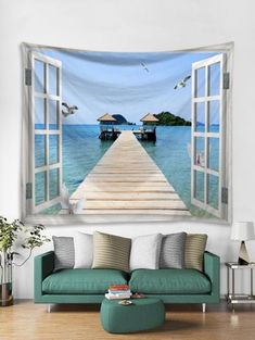 Sea Path Window 3D Print Wall Tapestry - SEA BLUE W59 X L79 INCH Cheap Wall Tapestries, Hanging Art, Tapestry Wall Hanging, Cheap Christmas Trees, Wooden Pattern, Wall Hanger, Hangers, Wall Patterns, Home Collections
