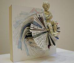Book sculpture restore ideas book sculpture, folded book art и old book Folded Book Art, Book Folding, Old Book Pages, Old Books, Paper Art, Paper Crafts, Cut Paper, Book Wreath, Old Book Crafts