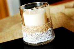 burlap wedding decorations | candle with burlap & lace | Wedding Ideas!!
