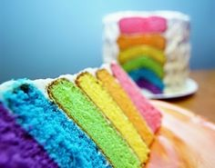 More rainbow cake X3 The colours are so pretty! I must go make one now!! 3