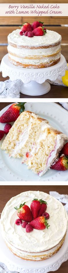 This Berry Vanilla Naked Cake is sweet vanilla cake swirled with a homemade berry puree and frosted with the dreamiest lemon whipped cream! This cake is light, fluffy,delicious and the prettiest cake for spring! Cupcakes, Cupcake Cakes, Cake Icing, Cupcake Recipes, Baking Recipes, Dessert Recipes, Summer Cake Recipes, Baking Ideas, Lemon Whipped Cream