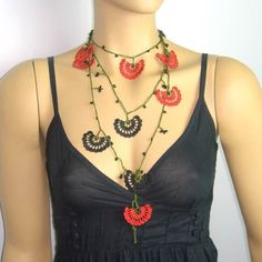 -Crochet lace black and red necklace by istanbuloya on Etsy