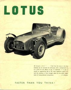 Lotus Note the enclosed rear wheels. Next comes Lotus Most Expensive Sports Car, Lotus Sports Car, Lotus 7, Lotus Elan, Lotus Esprit, Vintage Restaurant, Car Posters, Vintage Cars, Vintage Ideas