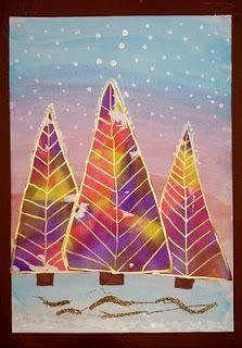 Bleeding tissue paper trees with metallic pens Kindergarten Art Projects, School Art Projects, Winter Art Projects, Christmas Projects, Tissue Paper Trees, Kids Watercolor, Watercolor Christmas, Christmas Tree Art, Art Plastique