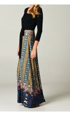 Color Block Printed Maxi Dress with 3/4 Sleeves. - Apostolic Clothing #modest #dresses