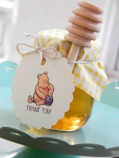 Baby Shower ideas 2019 - Winnie The Pooh Honey Jar Favors by EventsbyIzzy on Etsy Fiesta Baby Shower, Baby Shower Favors, Shower Party, Baby Shower Parties, Baby Shower Themes, Baby Boy Shower, Baby Shower Decorations, Baby Shower Gifts, Baby Favors