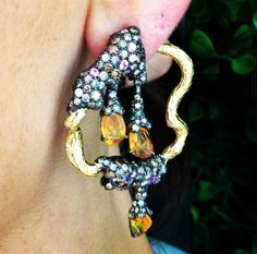 Arunashi fire Sapphire , Diamond , and Fire Opal Earring via @thejewelrydiaries on Instagram