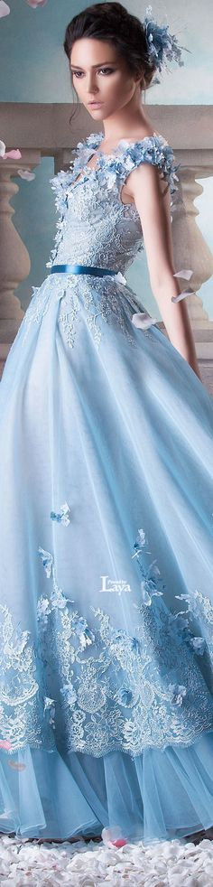 ♔LAYA♔HANNA TOUMA S/S 2015 COUTURE♔ Pantone - Serenity | light blue wedding | www.endorajewellery.etsy.com | something blue
