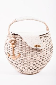 VINTAGE Tano Cream Wicker Leather Gold Anchor Spring/Summer Picnic Basket Bag