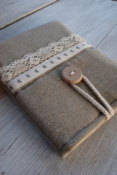 Apple iPad mini case/ linen. $24.00, via Etsy. Sew lace onto ipad sleeve. SO CUTE!