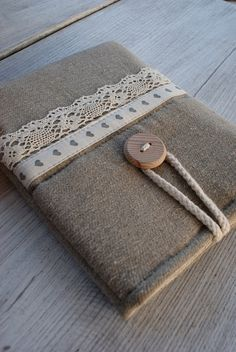 Apple iPad mini case/ linen. $24.00, via Etsy. Sew lace onto ipad sleeve. SO CUTE!