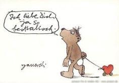 Ich liebe Dich, ja so bestialisch. #Liebe, #Postkarte, #Janosch
