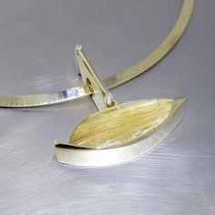 Style #23410453: Contemporary Honey-Colored Rutilated Quartz & Diamond Sheet Pendant, 18KY Gold