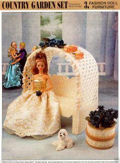 """Country Garden Set"" ~  Fashion Doll, Plastic Canvas Pattern ~  Annie's  ~ RARE"