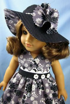 American Girl Doll Clothes Sundress and Hat by SewMyGoodnessShop