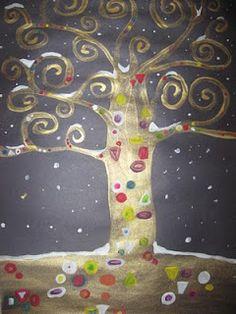 MaryMaking. Klimt trees.  With a wintery twist.  Love it.