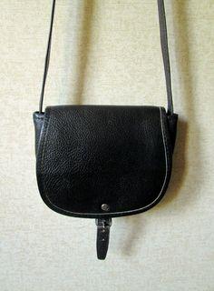 Crossbody Bag small black leather saddlebag long strap purse