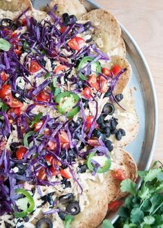 vegan nachos w/enchilada sauce
