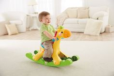 Ride On Toy Fisher Price Rocking Giraffe Lights Toddler Toy Baby Activity Gifts #FisherPrice