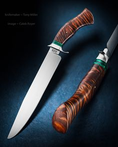 "Maker: Tony Miller Website: tonymillerknives.com Blade Length: 9 1/2"" Blade Height: 1 3/8"" Overall Length: 14 1/2"" Blade Material: Handforged 5160 Guard: 416 stainless steel Spacers:  Reconstituted malachite stone & black fiber Handle:  Curly Hawaiian koa wood"