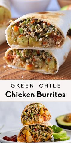 Absolutely delicious freezer friendly green chile chicken burritos loaded with veggies, protein, perfectly spiced potatoes and a dash of salsa and cheese. Make the filling for this easy chicken burrito recipe in just one skillet and freeze the extra burritos to enjoy quick, filling dinners for weeks to come! #burritos #chicken #freezerfriendly #healthydinner #mealprep #healthylunch