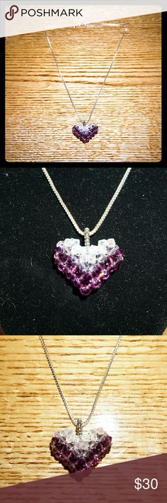 Handmade Genuine Swarovski Amethyst Crystal Heart With Sterling Silver 925, necklace. The crystals sparkle so much. Handmade by me, great conversation piece. Crystals are genuine Austrian Swarovski, 4MM bicones. Jewelry Necklaces