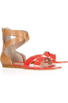 Fabia Leather And Patent-leather Sandals by Pour La Victoire