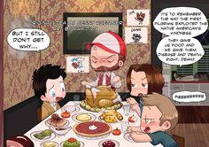 A Supernatural Thanksgiving by KamiDiox on deviantART. Love the hand turkeys on the wall!