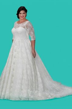 Style SC5216 from Sydneys Closet is the Charlotte Wedding Dress. Up the romantic appeal on your wedding wearing a Vintage inspired Chantilly lace gown with below elbow sleeves. Illusion neckline and below elbow sleeves give you just the right amount of coverage. Keyhole back and covered buttons guarantee you look pretty going down the aisle. Add your own fashion touch with solid color satin sash in matching ivory or get bold with a contrasting color for added drama. Or create instant glamour…