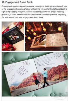 Engagement photos - photo book as a guest book. We could do this, but we look so different from last year!