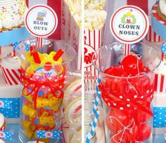 Circus Party Favors - Clown Noses & Blow Outs for Laura Birthday Party Celebration, Carnival Birthday Parties, Circus Birthday, Birthday Party Themes, Birthday Ideas, 3rd Birthday, Circus Party Favors, Circus Carnival Party, Camp Carnival
