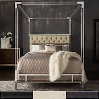 Reid Acrylic and Chrome Canopy Bed with Tufted Headboard by iNSPIRE Q Bold (King Size - Black Bonded Leather) Iron Furniture, Furniture Deals, Bedroom Furniture, Furniture Design, Bedroom Decor, Furniture Outlet, Bedroom Ideas, Online Furniture, Bedroom Hacks