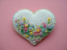 Felt Flower Heart via Etsy