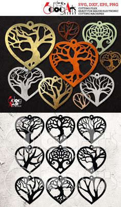 9 Wood / Acrylic Tree of Life Heart Earring / Pendant. 9 Wood / Acrylic Tree of Life Heart Earring Diy Leather Earrings, Leather Jewelry, Metal Jewelry, Laser Cut Jewelry, Scroll Saw Patterns, Heart Earrings, Wire Earrings, Silver Earrings, Tree Of Life