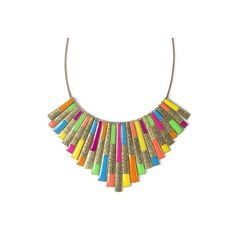 Bright Lines Statement Necklace | Claire's ($17) ❤ liked on Polyvore
