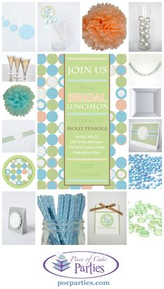 Modern girls need a modern bridal or baby shower.  A complete charming party delivered to you.  You just add the cake and the food!  By Piece of Cake Parties.  Charming.  Effortless.  Affordable.