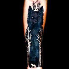 Best Black Wolf on Arm Tattoo Idea